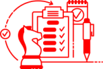 graphic of chess knight, clipboard, pen, and check mark